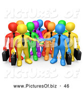 June 18th, 2013: Clipart of a Group of Many 3d Colorful Diverse Business Men Stacking Their Hands by 3poD
