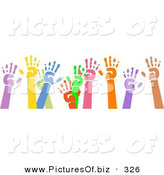 January 8th, 2013: Clipart of a Group of Raised Colorful Hand Prints over White by Prawny