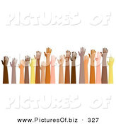January 9th, 2013: Clipart of a Group of Raised Hands of Different Ethnic Backgrounds by Prawny