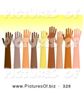 January 10th, 2013: Clipart of a Group of Raised Hands of Different Ethnic Groups over Yellow by Prawny