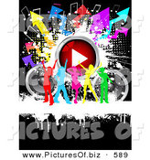 Clipart of a Group of Rinbow Silhouetted Ladies Dancing with Speakers, a Play Button, Music Notes and Arrows by KJ Pargeter