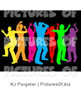 Clipart of a Group of Seven Colorful Yellow, Orange, Pink, Blue, Red, Green and Purple Dancers over Black by KJ Pargeter