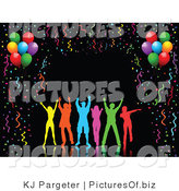 Clipart of a Group of Silhouetted Colorful People Dancing over a Black Background Bordered by Colorful Party Streamers, Confetti and Party Balloons by KJ Pargeter
