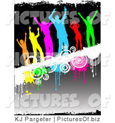Clipart of a Group of Six Diverse and Colorful Silhouetted People Dancing on a White Grunge Text Bar with Drips and Circles over a Gradient Black Background by KJ Pargeter