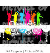 Clipart of a Group of Six Partying Colorful Silhouetted Men and Women Dancing on Top of a White Grunge Text Bar on a Background of Circles and Dripping Paint over Black by KJ Pargeter