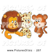 Clipart of a Group of Three Animal Friends, a Cute Baby Lion, Leopard and Monkey, ChattingGroup of Three Animal Friends, a Cute Baby Lion, Leopard and Monkey, Chatting by Alex Bannykh
