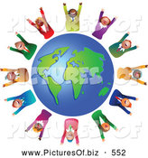 November 7th, 2013: Clipart of a Group or Team of Celebrating Diverse Business People Around a Globe by Prawny
