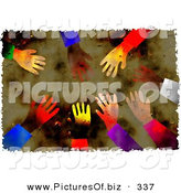 January 4th, 2013: Clipart of a Grungy Background of Diverse Hands Reaching Inwards by Prawny