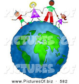 Clipart of a Happy Inter-Racial Family Holding Hands on Top of the Globe by Prawny