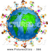 Clipart of a Happy Ring of Children Playing in Autumn Leaves Around the Globe by Prawny