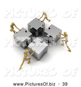 Clipart of a Hard Working Team of Four 3d Wood Mannequins Assembling a Big Puzzle by Stockillustrations