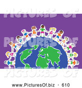 Clipart of a Line of Diverse Happy Kids Around a Global Earth, over Purple by Prawny