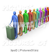 Clipart of a Line of Voters by 3poD