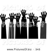 December 21st, 2012: Clipart of a Number of Black and White Handy Hand Business Team by Prawny
