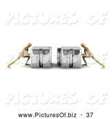 Clipart of a Pair 3d Wood Mannequins Linking Puzzle Pieces by Stockillustrations