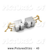 Clipart of a Pair of 3d Wood Mannequins Linking Puzzle Pieces by Stockillustrations