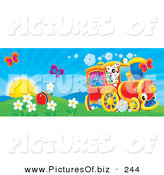 Clipart of a Pair of Butterflies over a Ball in a Flowery Field with a Bird and Dog on a Train on a Sunny Spring Day by Alex Bannykh