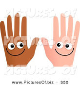 January 2nd, 2013: Clipart of a Pair of Happy and Different Hands Smiling by Prawny