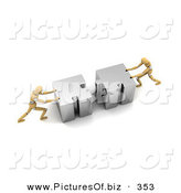 Clipart of a Pair of Orange Models Pushing Pieces of a Puzzle Together on White by Stockillustrations