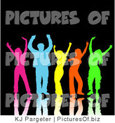 Clipart of a Partying Diverse Group of Colorful Pink, Blue, Yellow, Orange and Green Men and Women Dancing with Reflections, over Black by KJ Pargeter