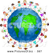 Clipart of a Playful and Diverse Ring of Little Girls Running Around the Globe and Holding Hands by Prawny