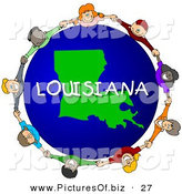 Clipart of a Ring Children Holding Hands in a Circle Around a Louisiana Globe by Djart