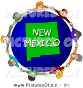 Clipart of a Ring Children Holding Hands in a Circle Around a New Mexico Globe by Djart