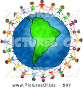 Clipart of a Ring of Children Holding Hands and Dancing Around the Globe Featuring Colombia by Prawny
