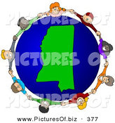 February 7th, 2013: Clipart of a Ring of Children Holding Hands Around a Mississippi Globe by Djart