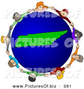 Clipart of a Ring of Children Holding Hands Around a Tennessee Globe by Djart