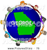 Clipart of a Ring of Children Holding Hands in a Circle Around a Georgia Globe by Djart