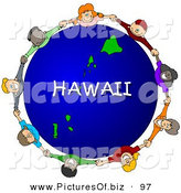 Clipart of a Ring of Children Holding Hands in a Circle Around a Hawaii Globe by Djart