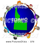 February 9th, 2013: Clipart of a Ring of Children Holding Hands in a Circle Around a Idaho Globe by Djart