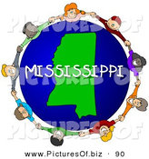 Clipart of a Ring of Children Holding Hands in a Circle Around a Mississippi Globe by Djart