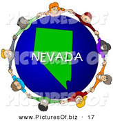 Clipart of a Ring of Children Holding Hands in a Circle Around a Nevada Globe by Djart