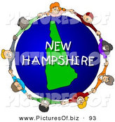 Clipart of a Ring of Children Holding Hands in a Circle Around a New Hampshire Globe by Djart