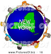 Clipart of a Ring of Children Holding Hands in a Circle Around a New York Globe by Djart