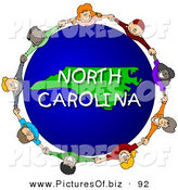 Clipart of a Ring of Children Holding Hands in a Circle Around a North Carolina Globe by Djart