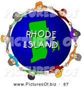 Clipart of a Ring of Children Holding Hands in a Circle Around a Rhode Island Globe by Djart