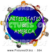 April 29th, 2013: Clipart of a Ring of Children Holding Hands in a Circle Around a United States of America Globe by Djart