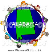 Clipart of a Ring of Children Holding Hands in a Circle Around an Alabama Globe by Djart