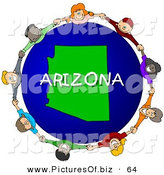Clipart of a Ring of Children Holding Hands in a Circle Around an Arizona Globe by Djart