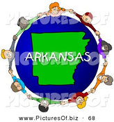 Clipart of a Ring of Children Holding Hands in a Circle Around an Arkansas Globe by Djart