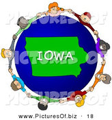 Clipart of a Ring of Children Holding Hands in a Circle Around an Iowa Globe by Djart
