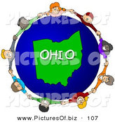 Clipart of a Ring of Children Holding Hands in a Circle Around an Ohio Globe by Djart