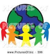 Clipart of a Ring of Colorful People Cutouts Around a Globe by Rosie Piter
