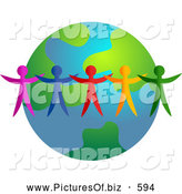 Clipart of a Ring of Colorful People Standing Around an Earth Globe by Prawny