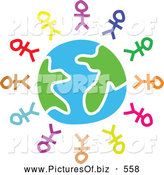 Clipart of a Ring of Colorful Stick People Around Earth by Prawny