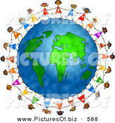 Clipart of a Ring of Diverse Girls Holding Hands Around the Globe by Prawny