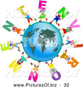 Clipart of a Ring of Global Kids Carrying ENVIRONMENT Text Around a Globe by Prawny